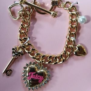 Juicy Couture Key and Heart Charm Toggle Bracelet